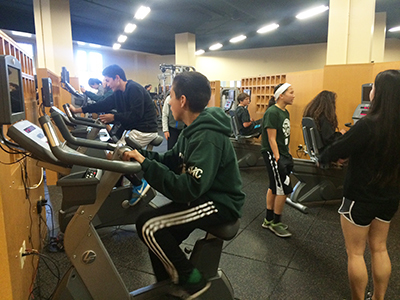 Jumpstart students get a workout in the Fitness Center