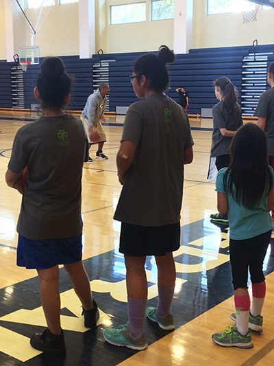 "Summer Institute: Girls Basketball campers learn the ""triple threat"" from Coach LyRyan Russell"
